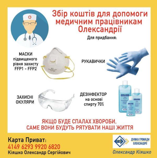 Александр Кияшко начал сбор средств для помощи медицинским работникам Александрии