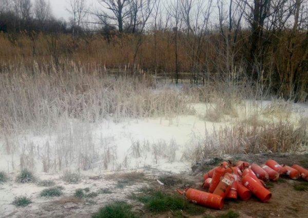 Женщина сливала фекалии в лес, а мужчина высыпал в водоем порошок из огнетушителей